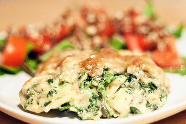 Pastinaken-Spinat-Gratin