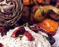 Artischocken, Ofengemüse & Cashewdip
