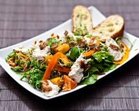 Wildsalat, Sprossen, Orangen & Cashewdip