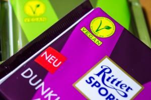 neue vegane Ritter Sport Schokoladen mit V-Label